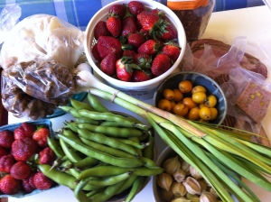 Farmers Market Haul with Ground Cherries from a friend's garden, foraged Loquats, Coutry Pate and Pork Rinds